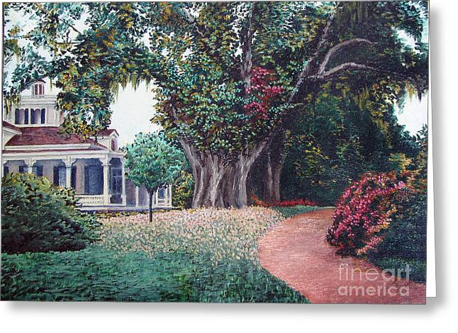 Greeting Card featuring the painting Live Oak Gardens Jefferson Island La by Todd Blanchard
