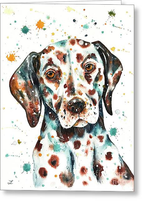 Greeting Card featuring the painting Liver-spotted Dalmatian by Zaira Dzhaubaeva