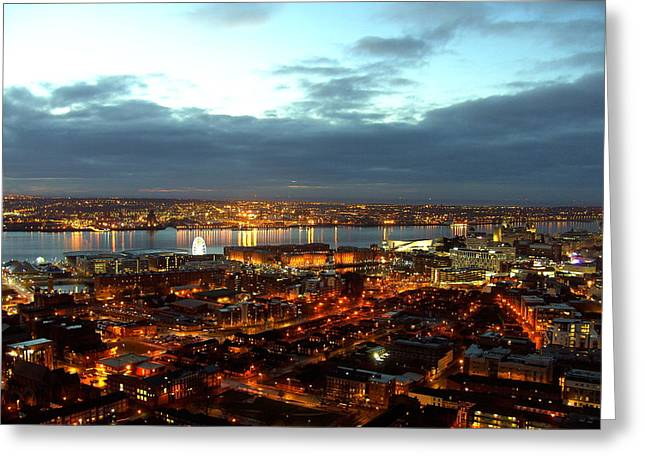Liverpool City And River Mersey Greeting Card