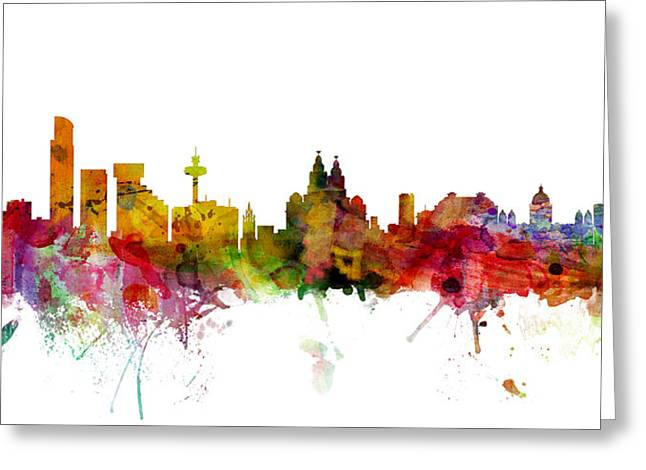 Liverpool England Skyline Panoramic Greeting Card by Michael Tompsett