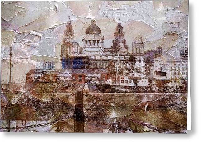 Greeting Card featuring the painting Liverpool by Mark Taylor