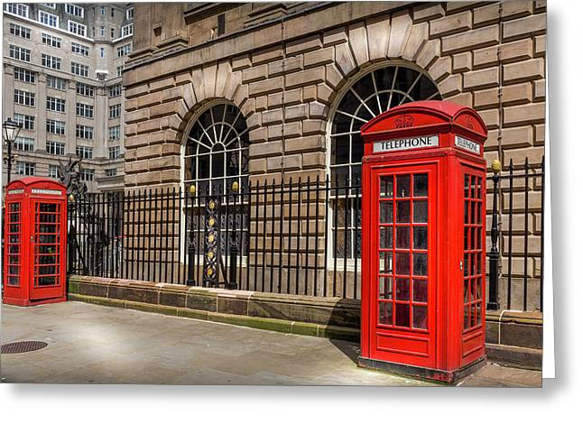 Liverpool Telephone Boxes Greeting Card by Georgia Fowler