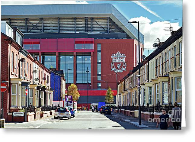 Liverpool Uk. 17th Sepember 2016. Terraced Houses Dwarfed By Liverpool Football Clubs New 114 Million Stand Greeting Card