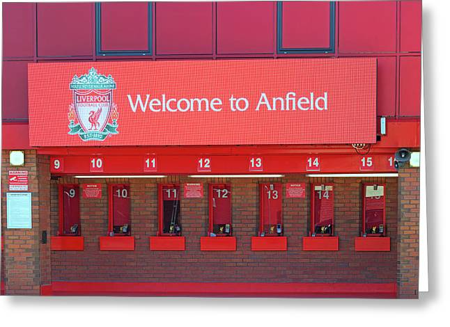 Liverpool Uk. 17th Sepember 2016. The Ticket Office At Liverpool Football Club Stadium Kop End Greeting Card