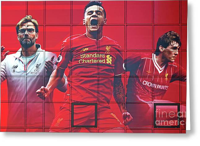 Liverpool Uk, 17th September 2016. Liverpool Football Club's New Giant Mural For The 2016/17 Season At The Kop End Of The Stadium Greeting Card