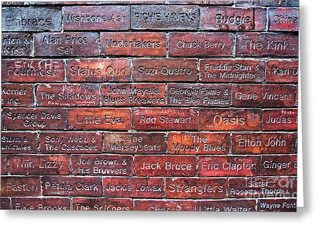 Liverpool Uk, 19th January 2017. Wall Of Fame With The Name Of Bands That Have Played At The Cavern Club In Mathew St Liverpool Uk Greeting Card