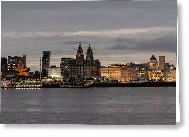 Liverpool Waterfront At Night Greeting Card by Spikey Mouse Photography