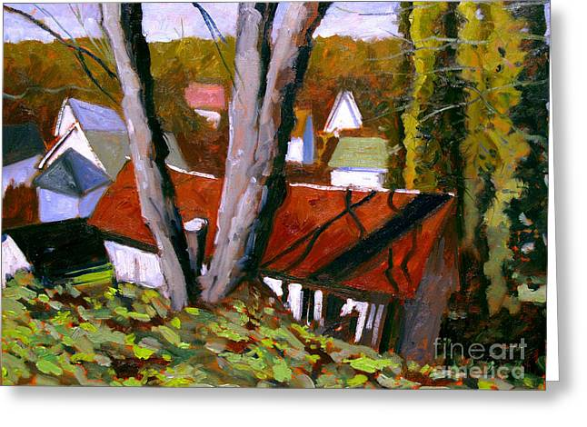 Livery Below Spring St. Plein Air Framed Greeting Card by Charlie Spear