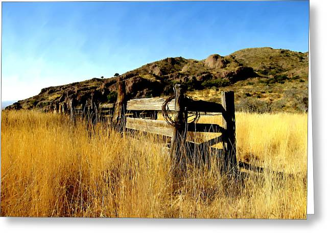 Livery Fence At Dripping Springs Greeting Card by Kurt Van Wagner