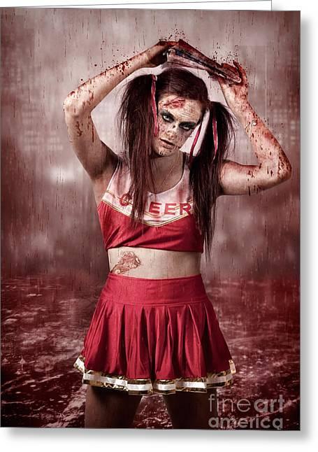 Living Dead School Girl In Headline Nightmare Greeting Card