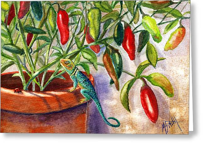 Greeting Card featuring the painting Lizard In Hot Sauce by Marilyn Smith