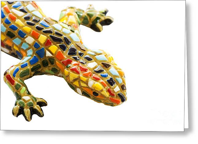 Monjuic Greeting Cards - Lizard Souvenir by Antony Gaudi Greeting Card by Soultana Koleska