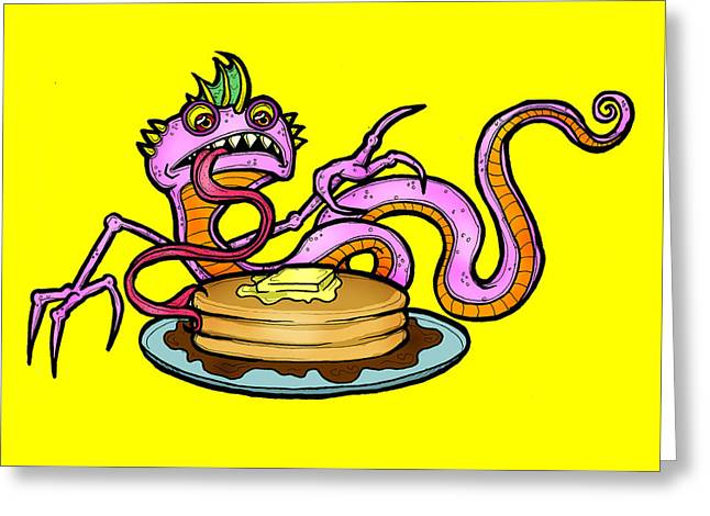 Lizard V. Pancakes Greeting Card by Christopher Capozzi