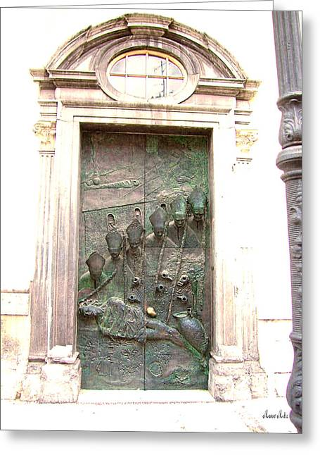 Ljubljana Bronze Church Door Greeting Card by Marko Mitic
