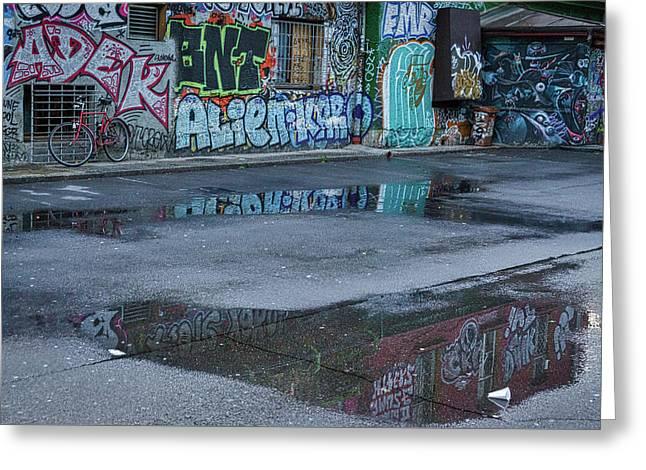 Greeting Card featuring the photograph Ljubljana Graffiti Reflections #2 - Slovenia by Stuart Litoff