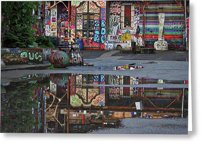 Ljubljana Graffiti Reflections - Slovenia Greeting Card