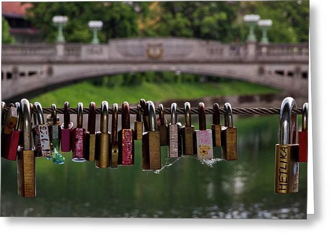 Greeting Card featuring the photograph Ljubljana Love Locks - Slovenia  by Stuart Litoff