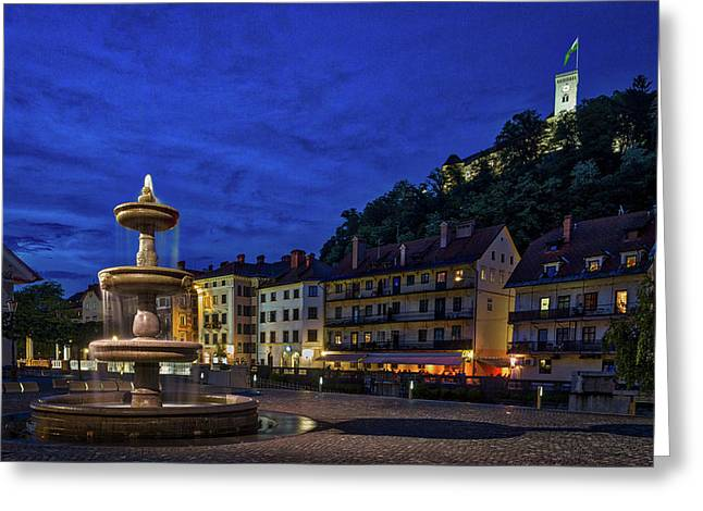 Ljubljana Night Scene #2 - Slovenia Greeting Card