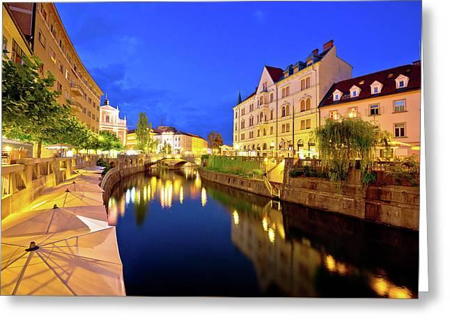 Ljubljanica River Waterfront In Ljubljana Evening View Greeting Card
