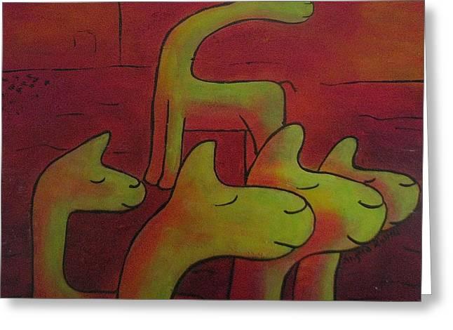 Llamas Looking Greeting Card by Ingrid Russell
