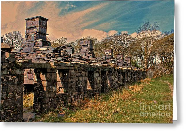 Llanberis Dinorwic Quarrymens Quarters  Greeting Card by Chris Evans