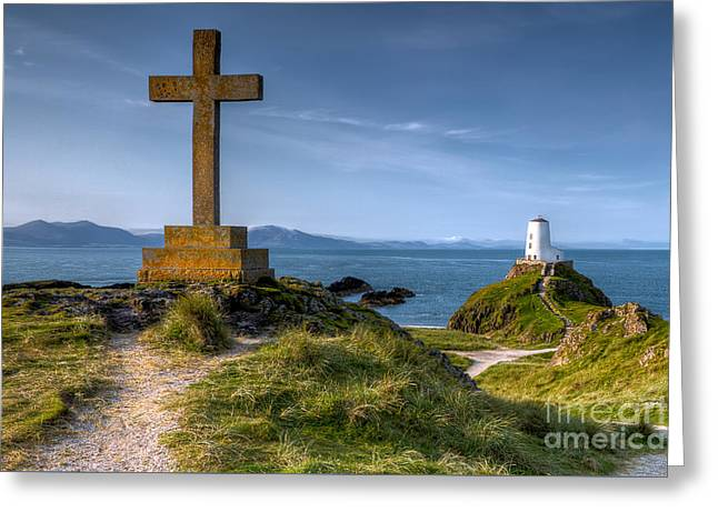 Llanddwyn Cross Greeting Card by Adrian Evans