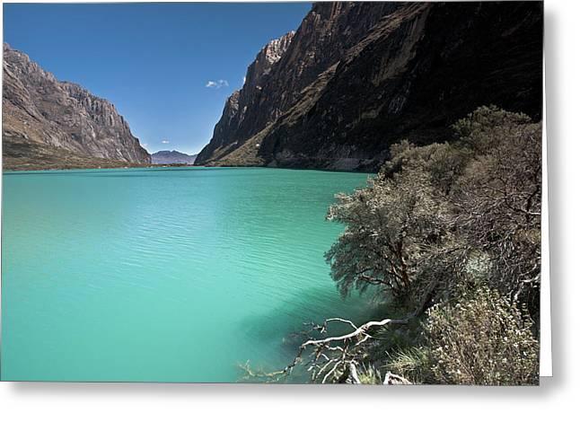 Llanganuco Lakes In Cordillera Blanca Greeting Card