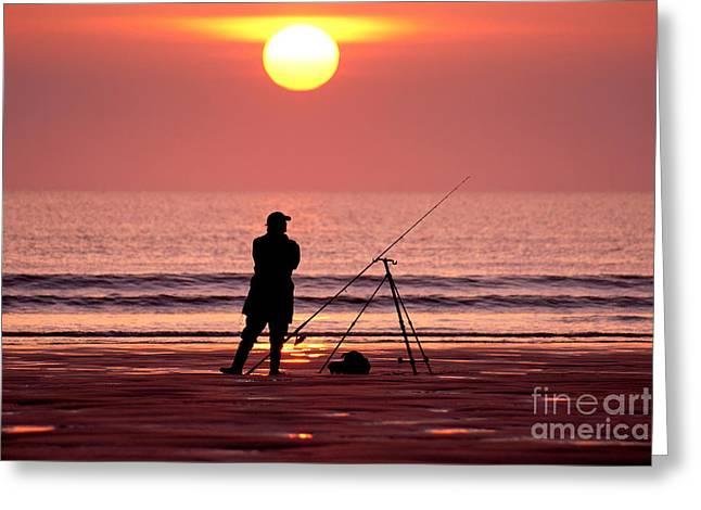 Llangennith Fishing At Sundown Greeting Card
