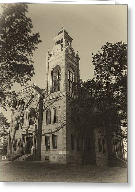 Llano County Courthouse - Vintage Greeting Card by Stephen Stookey