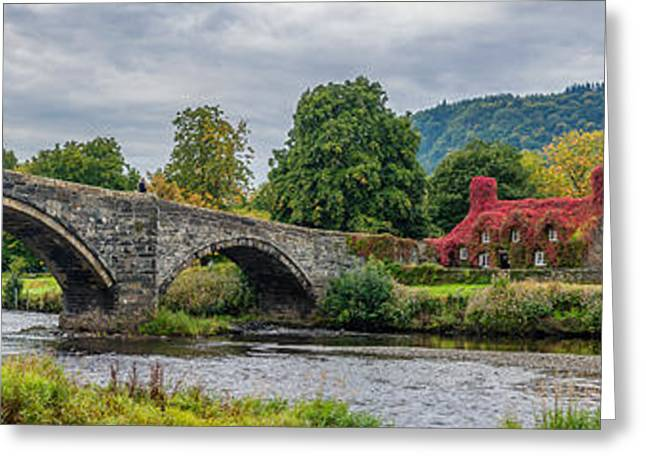 Llanrwst Bridge And Tea Room Greeting Card by Adrian Evans