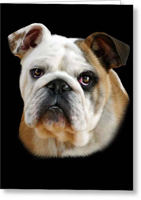 British Bulldog Greeting Cards - Llewellyn Greeting Card by Julie L Hoddinott