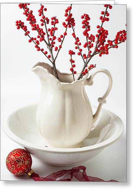 Llex Berries In Pitcher Greeting Card by Garry Gay