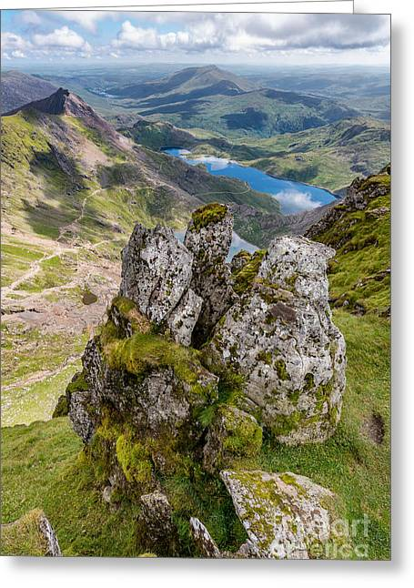 Llydaw And Glaslyn Lakes Greeting Card by Adrian Evans