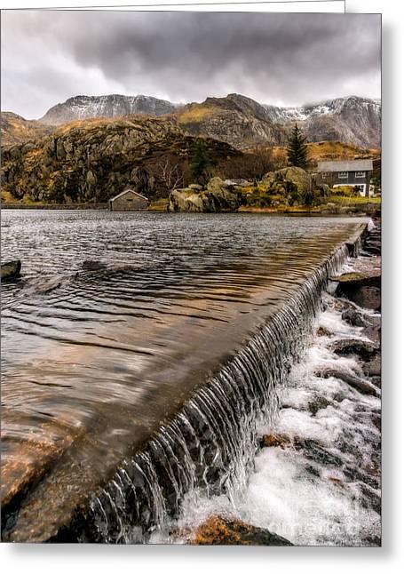 Llyn Ogwen Weir Greeting Card by Adrian Evans