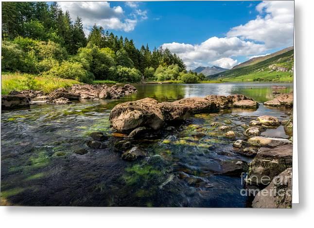 Llynau Mymbyr Lakes In Snowdonia Greeting Card by Adrian Evans