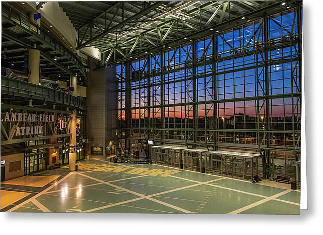 Greeting Card featuring the photograph Lambeau Field Atrium Sunset by Joel Witmeyer