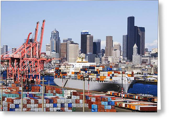 Architectural Detail Greeting Cards - Loaded Container Ship In Seattle Harbor Greeting Card by Jeremy Woodhouse