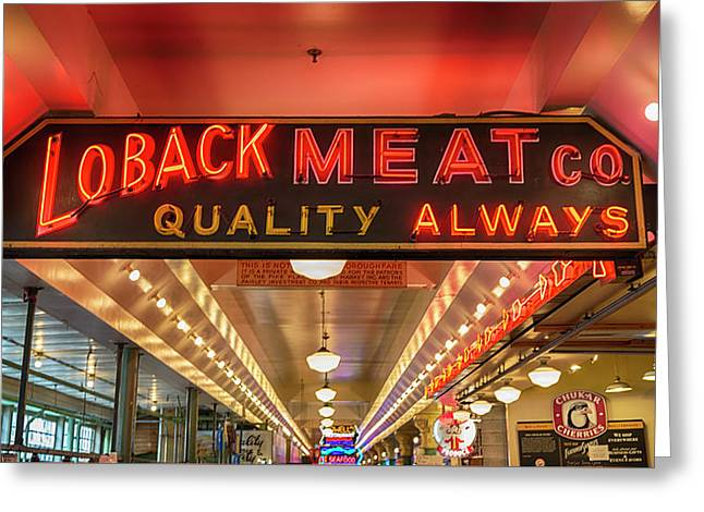 Loback Meat Co Neon Greeting Card by Stephen Stookey