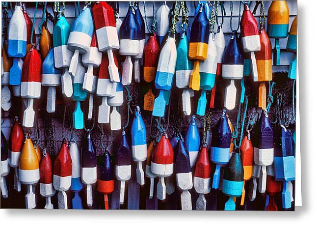 Float Greeting Cards - Lobester trap bouys Greeting Card by Garry Gay