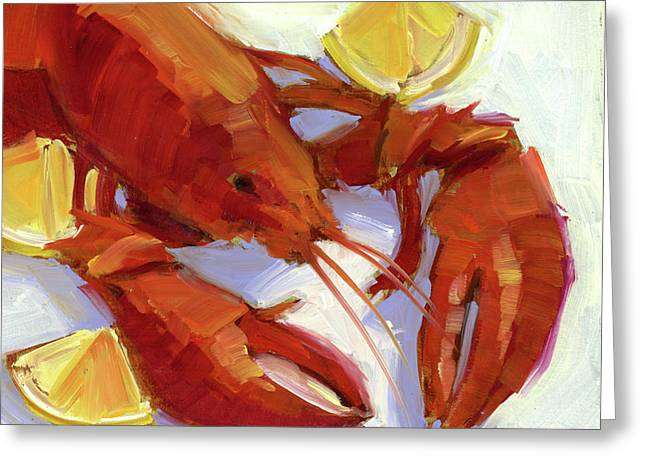 Lobster And Lemons Greeting Card by Mary Byrom