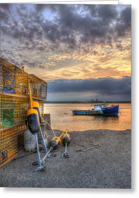 Lobster Boat At Sunset - Seabrook Nh Greeting Card