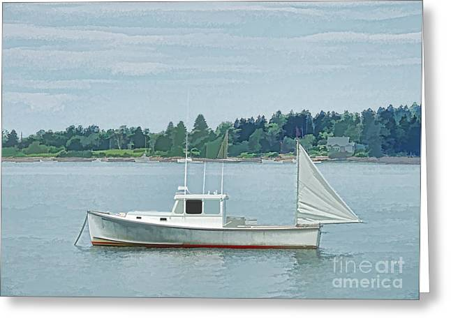 Lobster Boat Harpswell Maine Greeting Card
