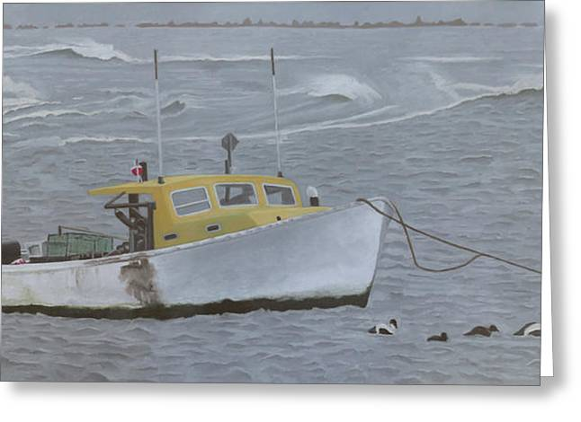 Lobster Boat In Kettle Cove Greeting Card