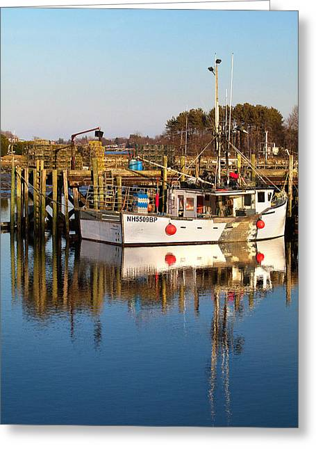 Lobster Boat Reflections Greeting Card by Eric Gendron