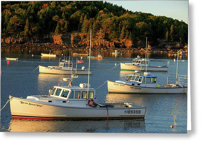 Greeting Card featuring the photograph Lobster Boats At Bar Harbor Me  by Emmanuel Panagiotakis