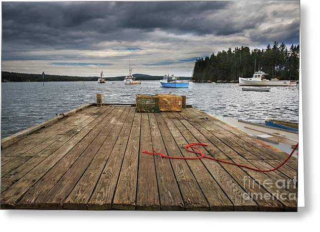 Lobster Boats Of Winter Harbor Greeting Card