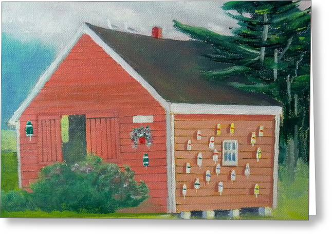 Lobster Buoy Shack Greeting Card