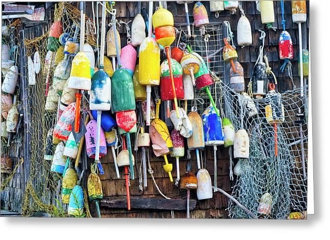 Lobster Buoys And Nets - Maine Greeting Card by Steven Ralser