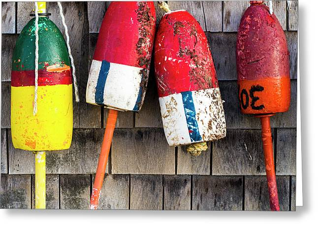 Lobster Buoys On Shingle Wall - Cape Neddick -  Maine Greeting Card by Steven Ralser
