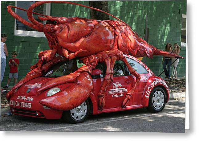 Lobster Car Greeting Card by Carl Purcell